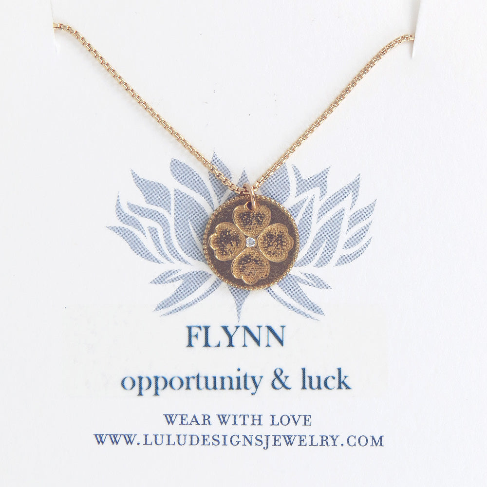FLYNN MEDALION WITH DIAMOND IN YELLOW IN GOLD FILL