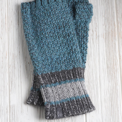 Teal Carrera Fingerless Gloves