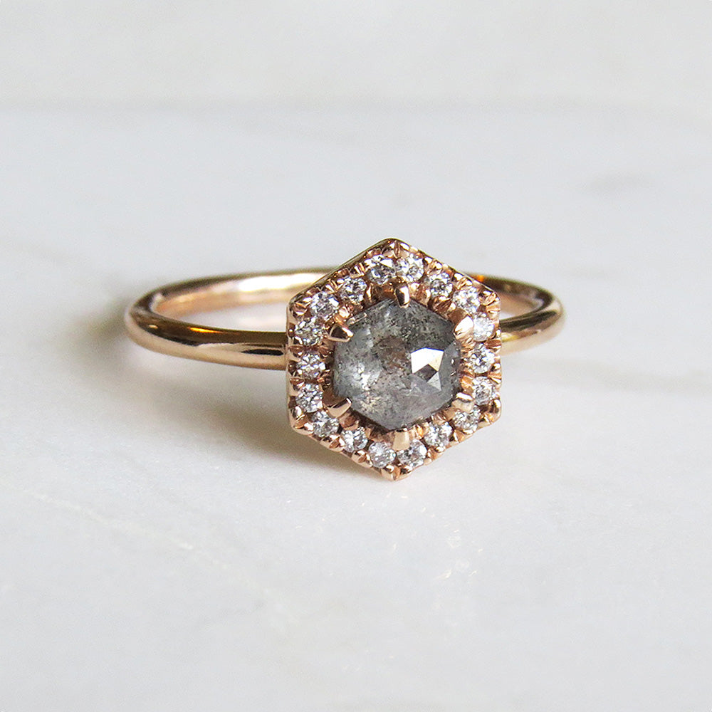 ROSE GOLD HEXAGON HALO RING