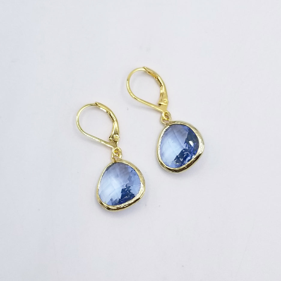 TEARDROP LIGHT ROYAL BLUE CRYSTAL DROP EARRING