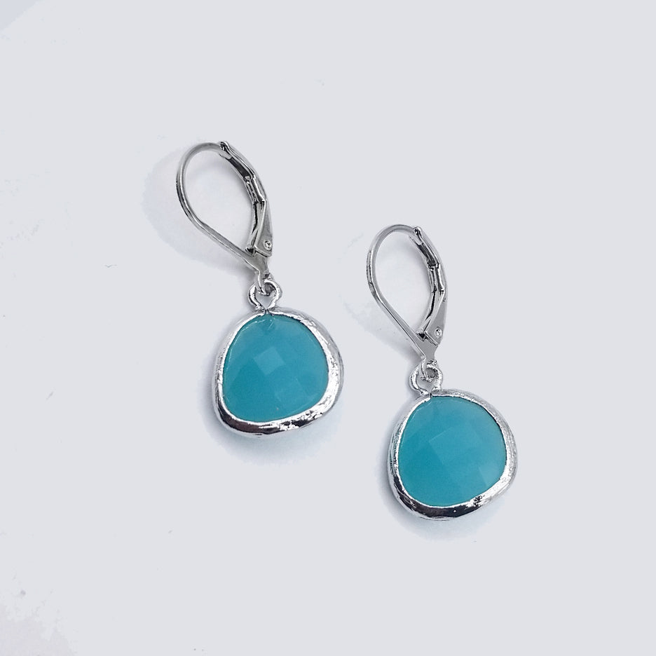 STERLING SILVER TEARDROP TURQUOISE CRYSTAL DROP EARRING