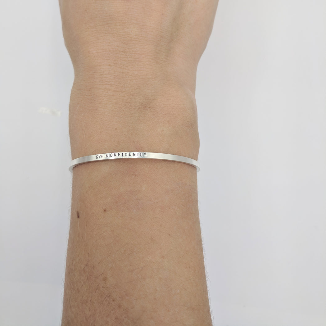 GO CONFIDENTLY STERLING SILVER CUFF