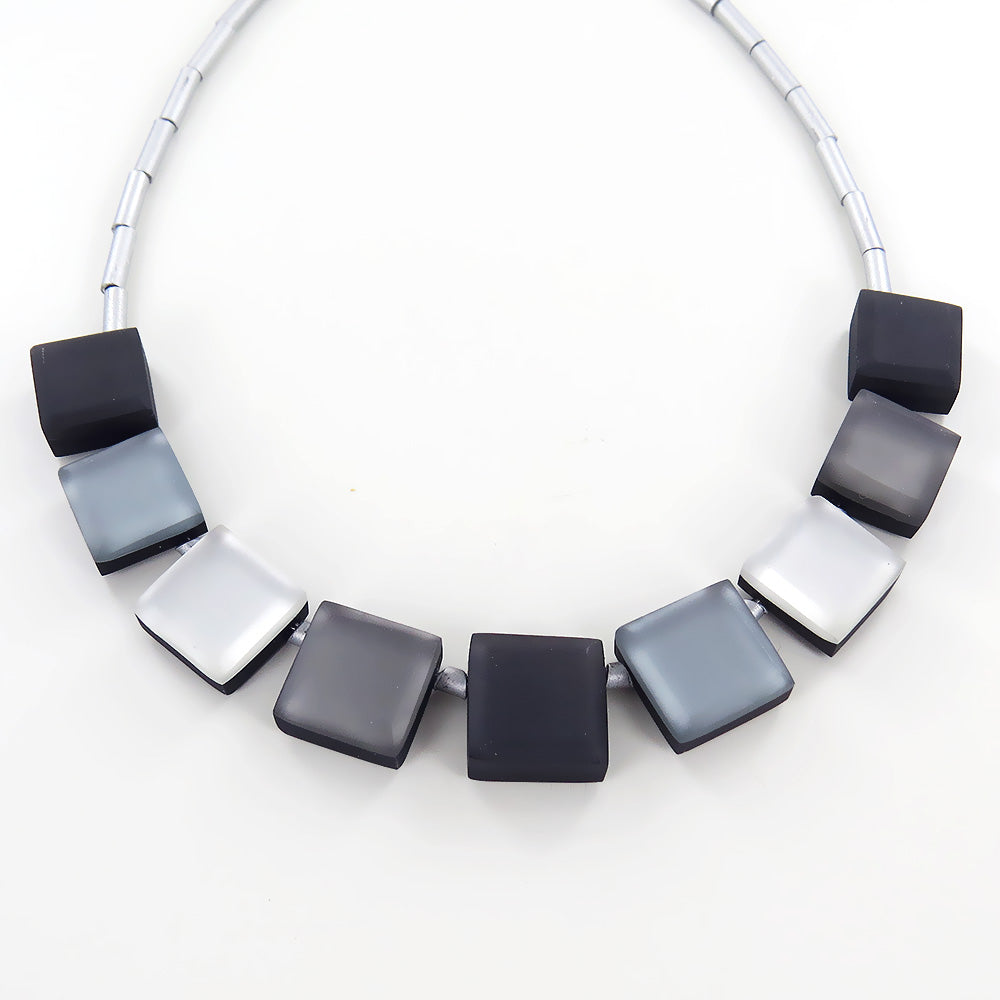 BLACK, WHITE, GREY SQUARE BUTTONS NECKLACE