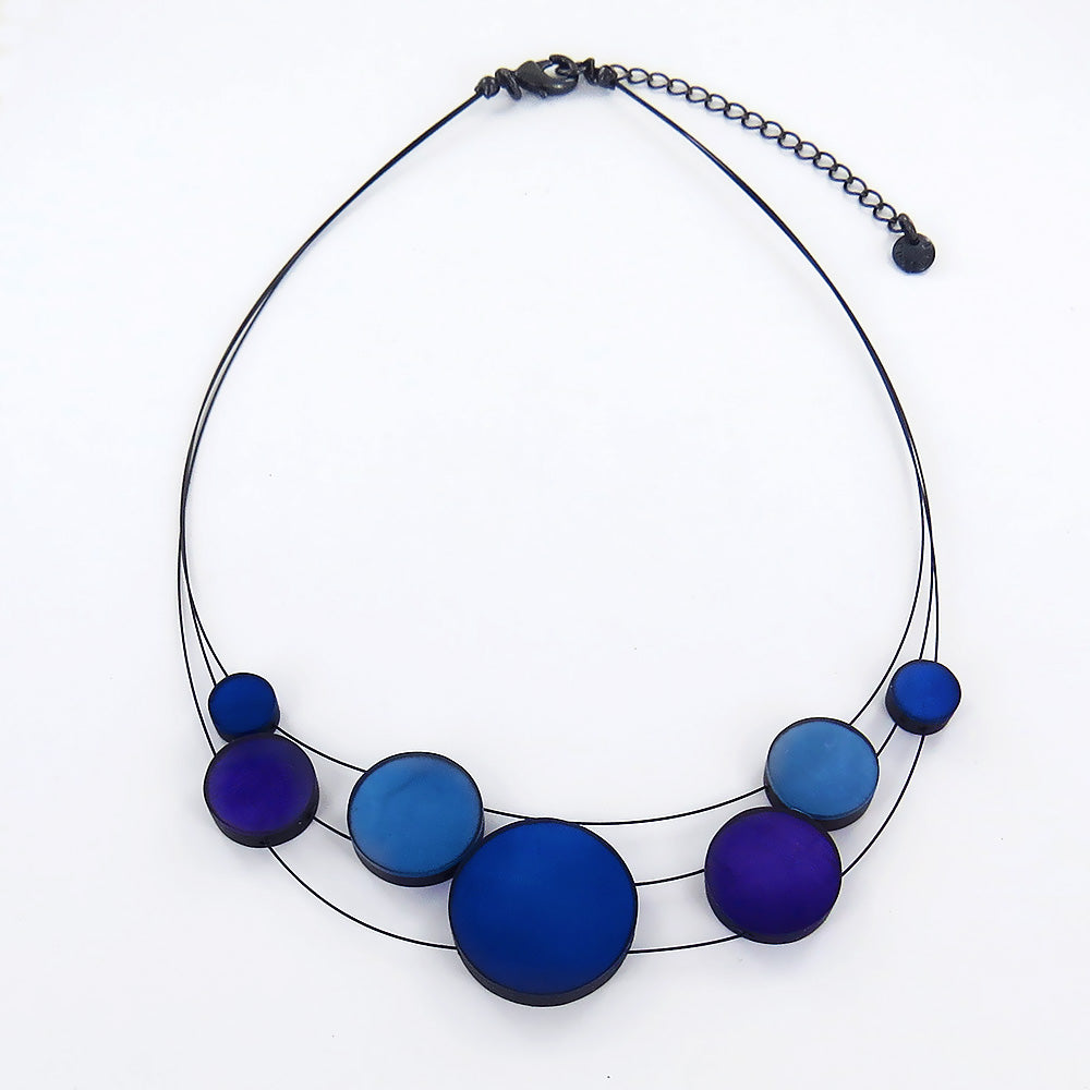 BLUE 3 STRAND DISK NECKLACE