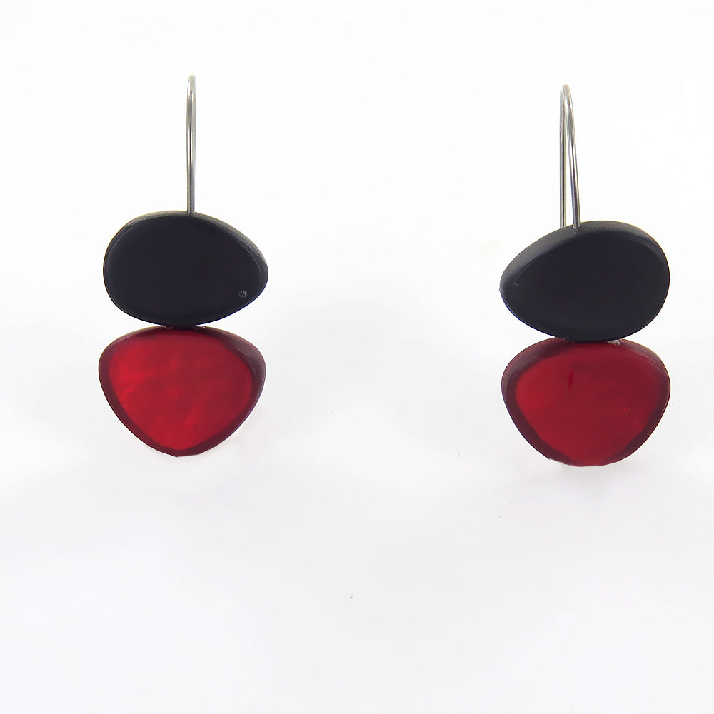 GREY AND RED TWO TONE EARRING