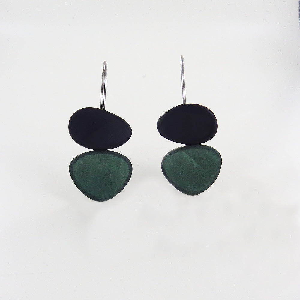 GREY AND GREEN TWO TONE EARRING