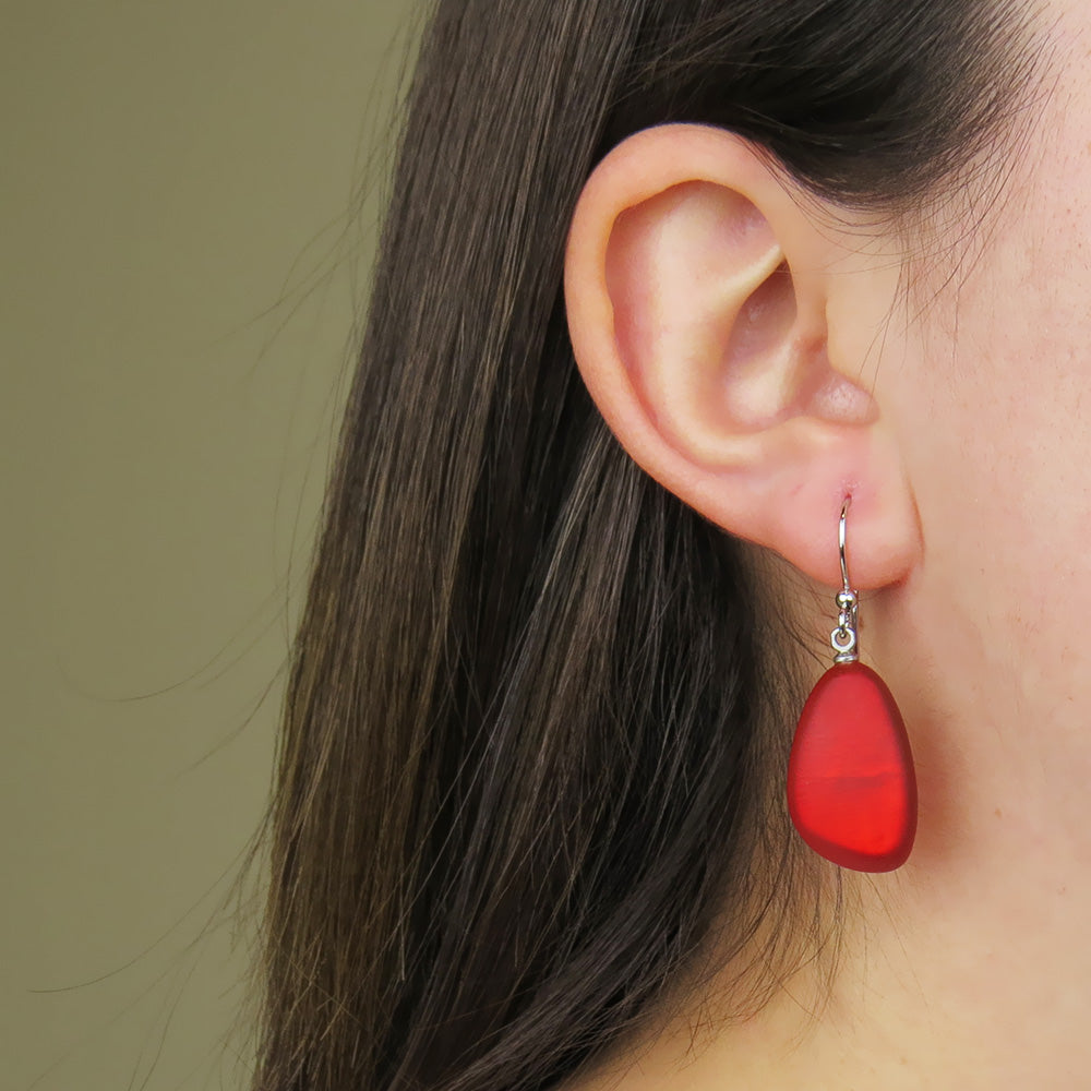 RED TRIANGULAR DROP EARRING