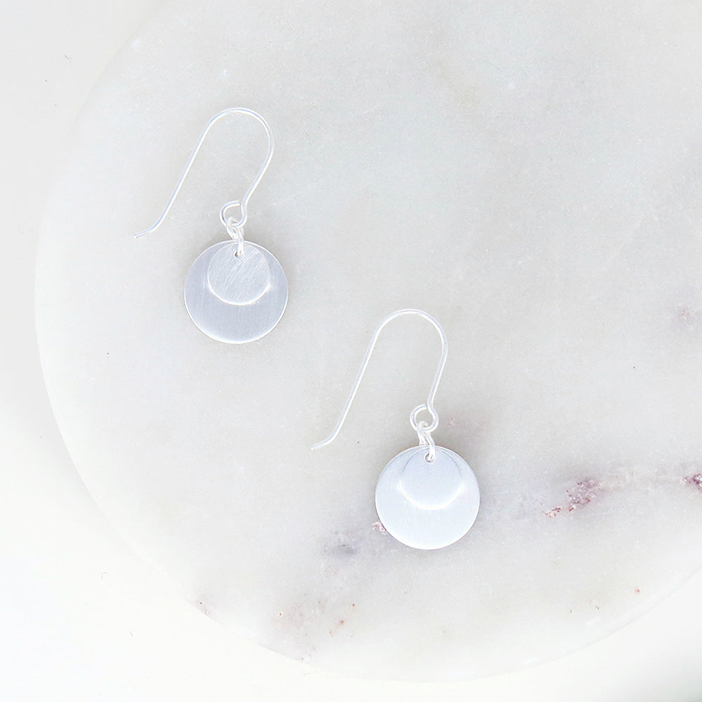 BRUSHED STERLING SILVER DOUBLE DISC EARRING