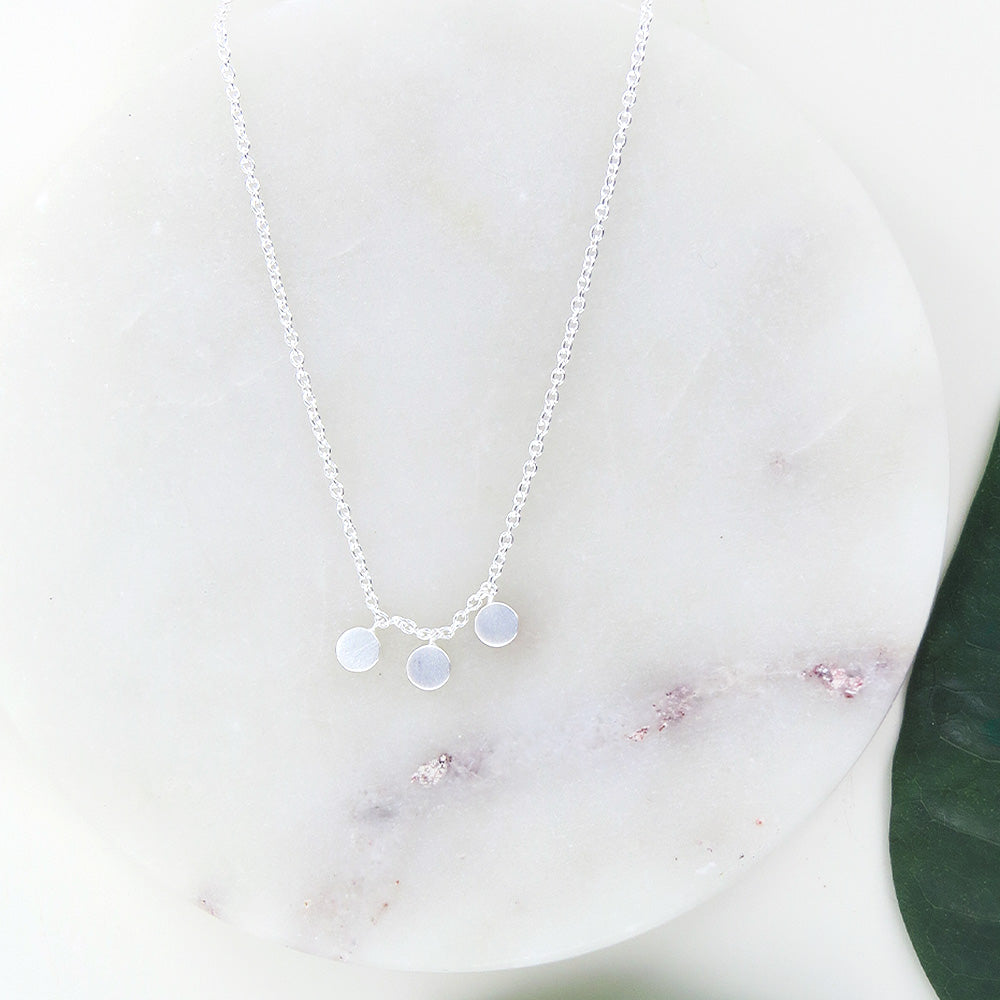 BRUSHED STERLING SILVER 3 DOTS NECKLACE