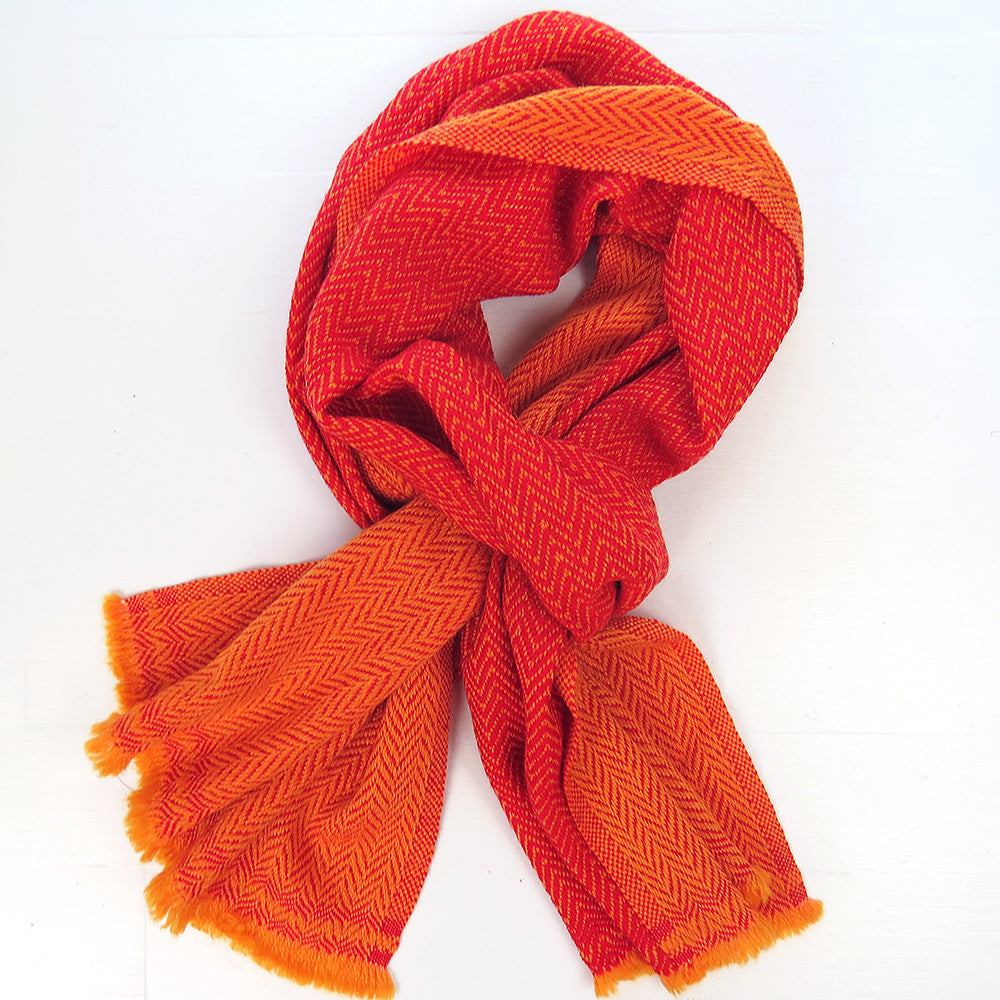 TWO TONE CASHMERE SCARF IN ORANGE
