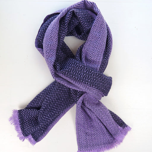 TWO TONE CASHMERE SCARF IN LAVENDER