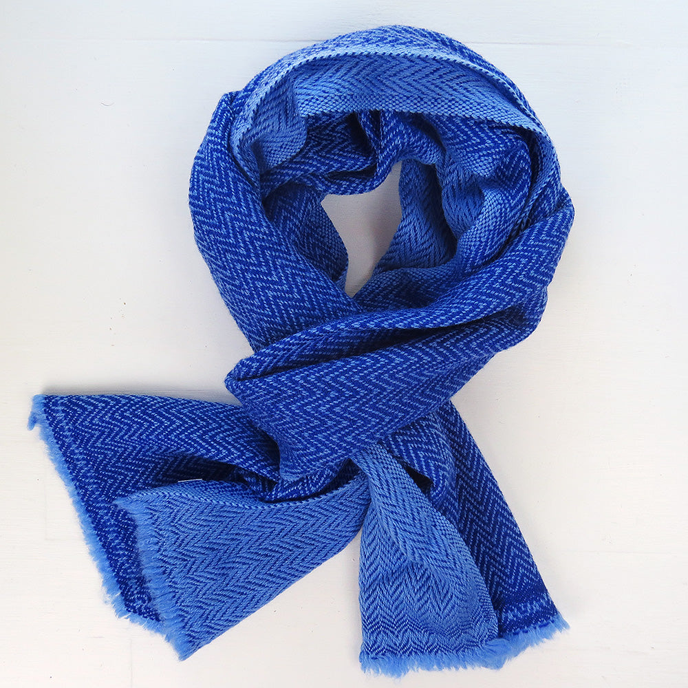 TWO TONE CASHMERE SCARF IN FRENCH BLUE