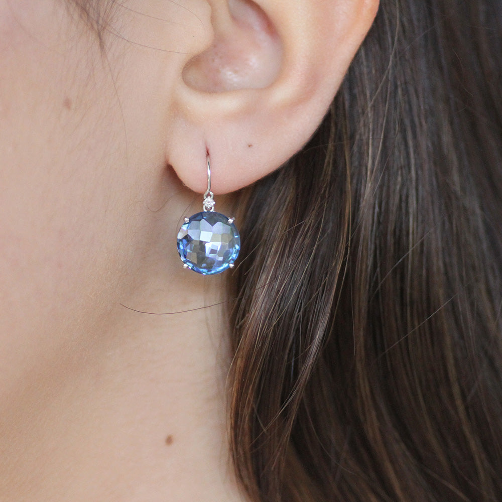 LARGE ENGLISH BLUE TOPAZ DROP EARRING