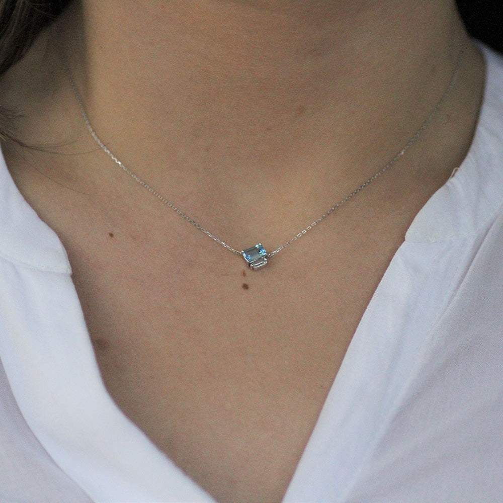 EMERALD CUT SWISS BLUE AND WHITE TOPAZ NECKLACE