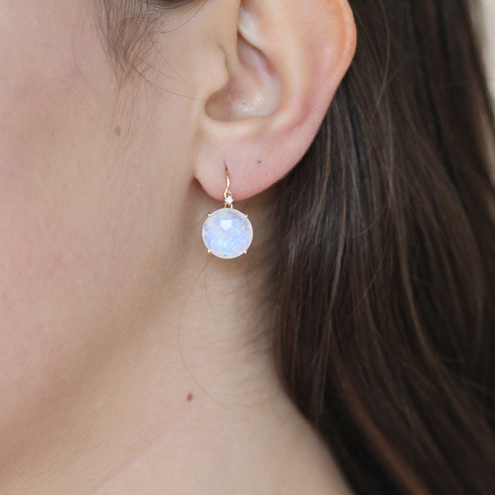 LARGE RAINBOW MOONSTONE DROP EARRING