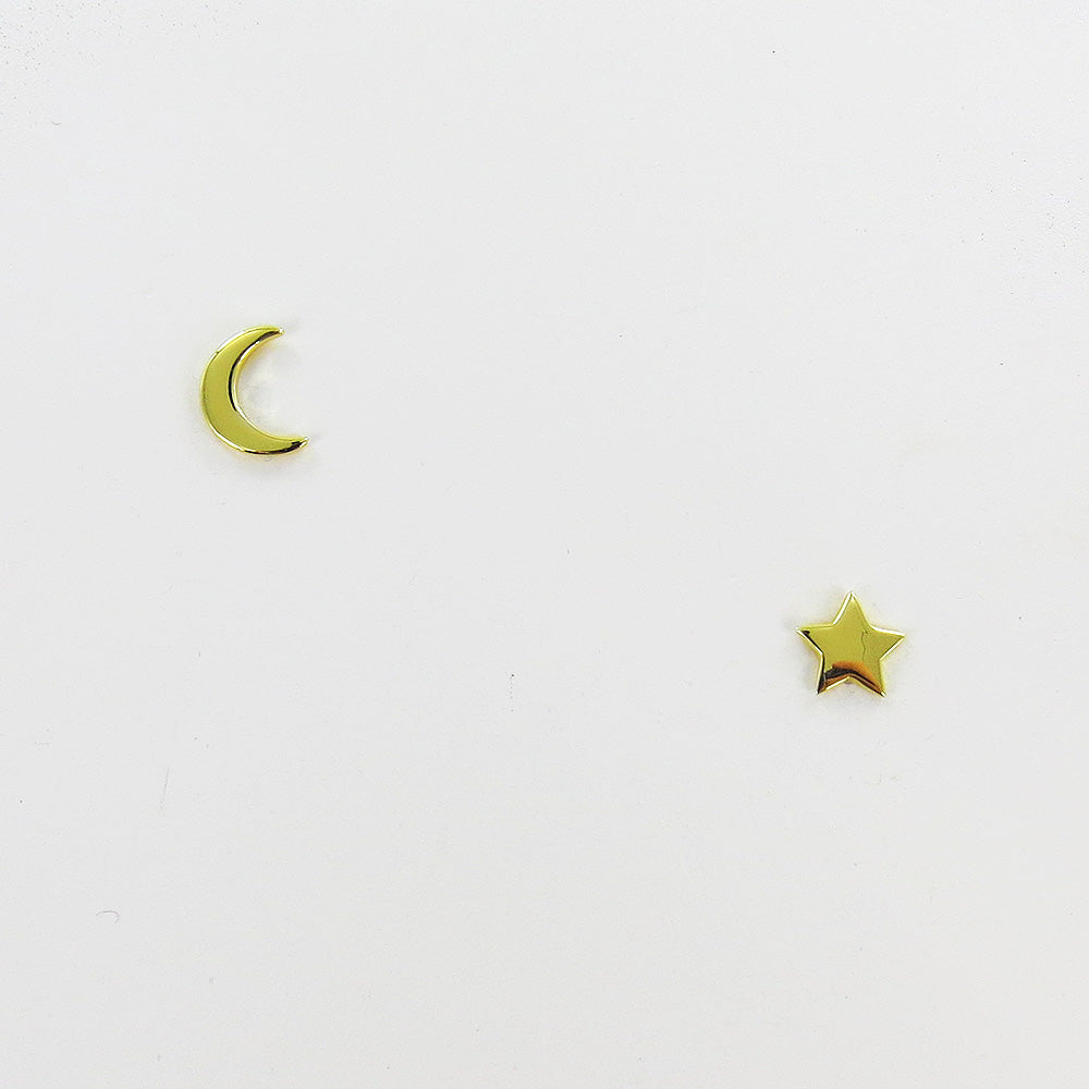 14K GOLD VERMEIL SMALLER MOON AND STAR STUD