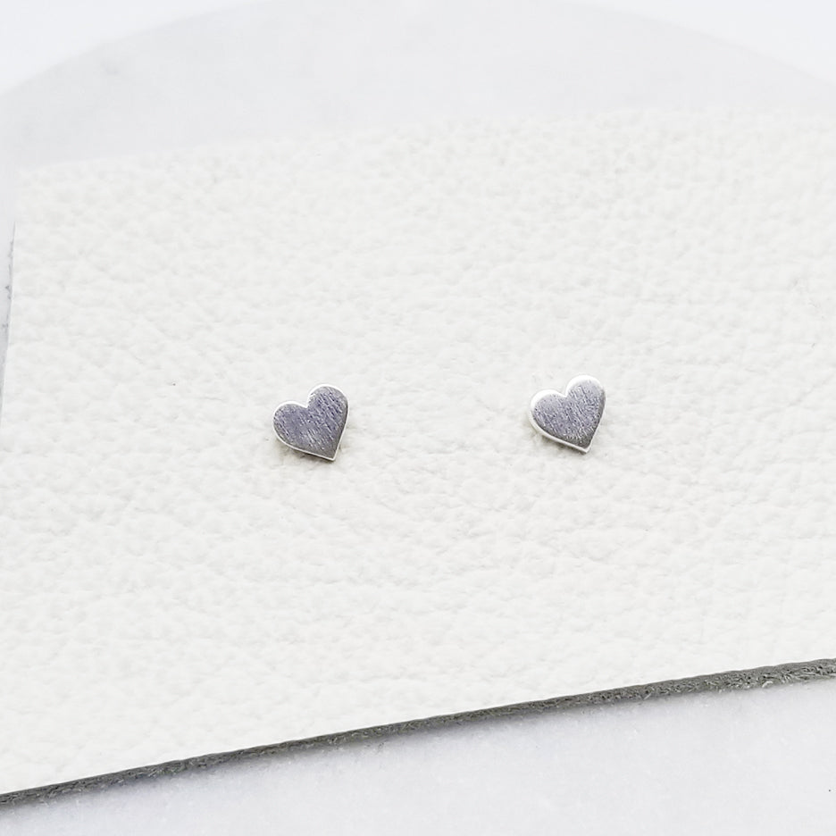 Brushed Sterling Silver Tiny Heart Stud