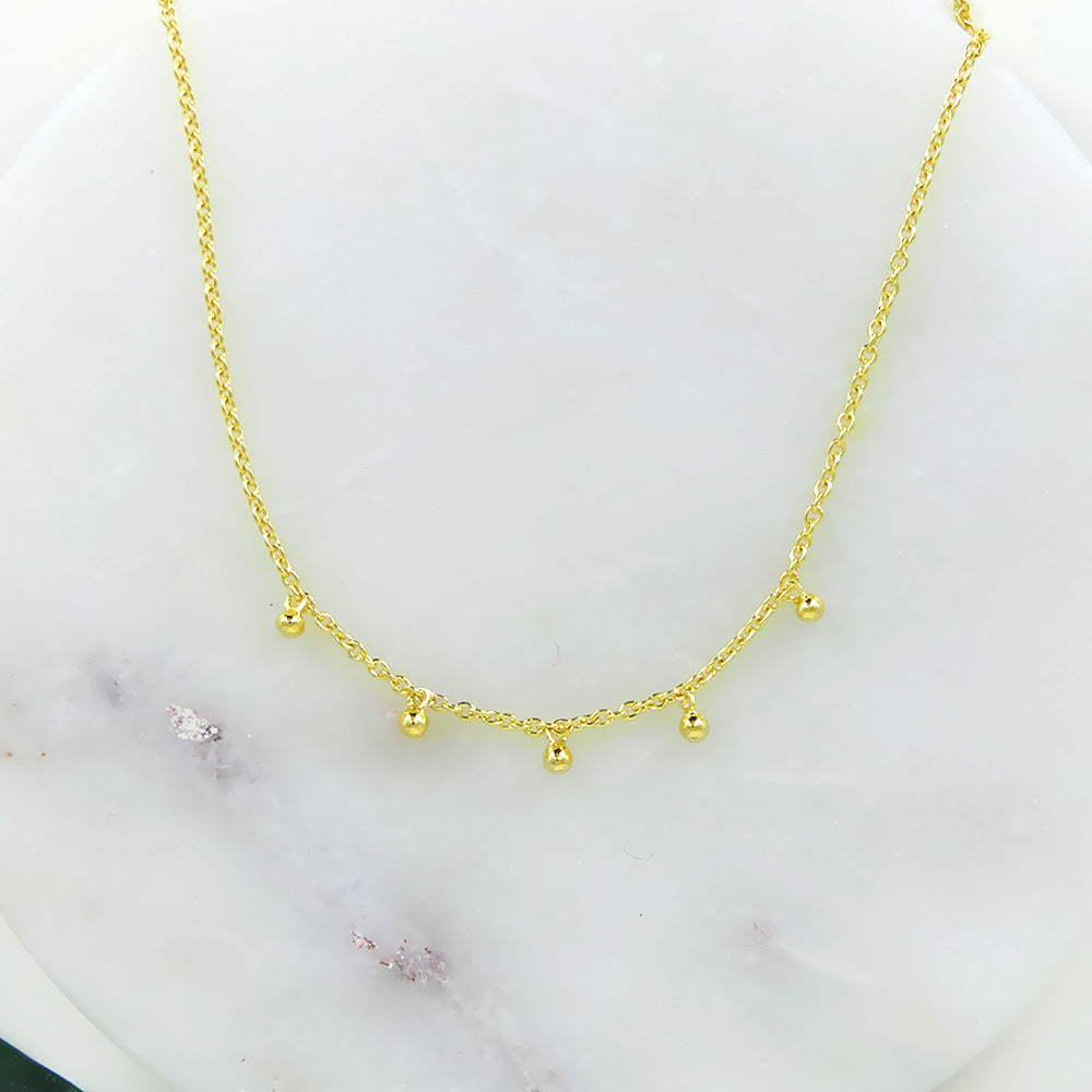 14K GOLD VERMEIL NECKLACE TINY HANGING CHARMS
