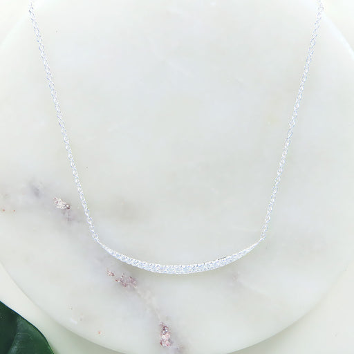 STERLING SILVER PAVE CURVE NECKLACE