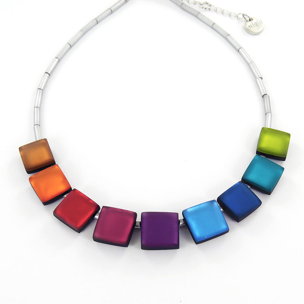 RAINBOW SQUARE BUTTONS NECKLACE