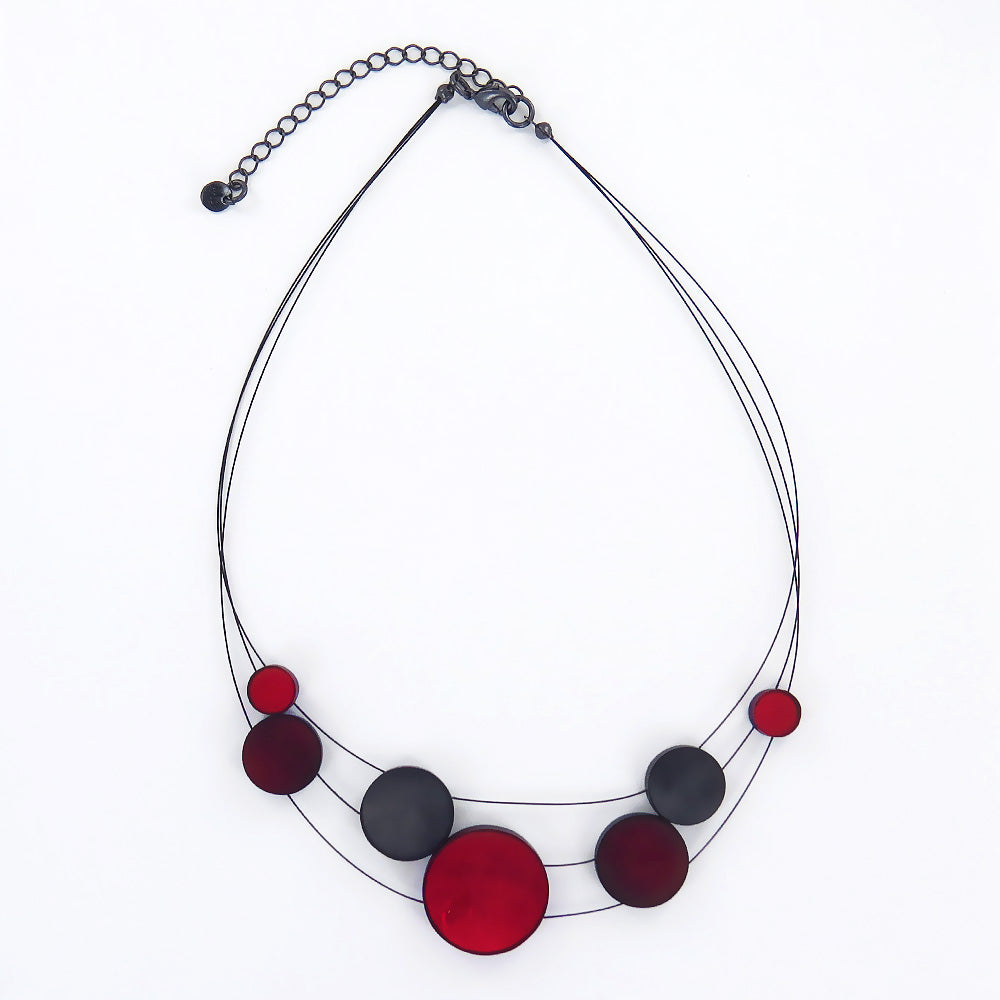 RED 3 STRAND DISK NECKLACE
