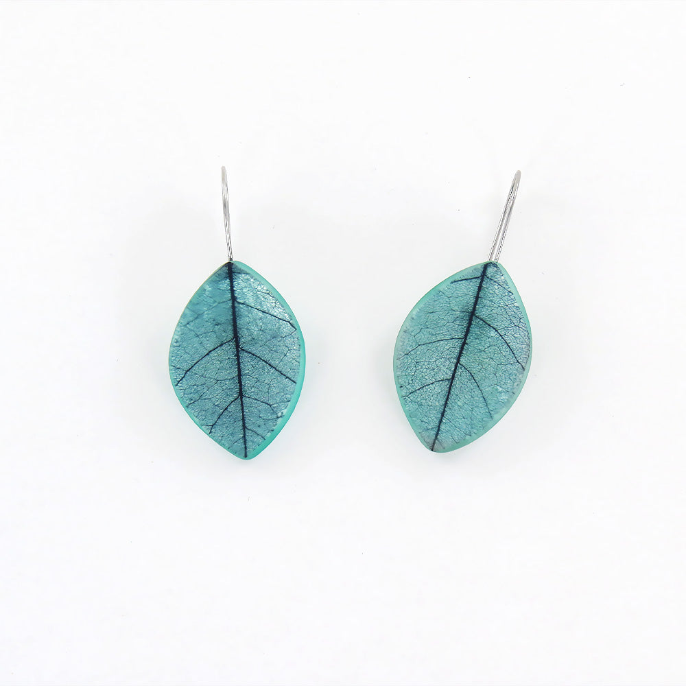 JADE SKELETON LEAF EARRING
