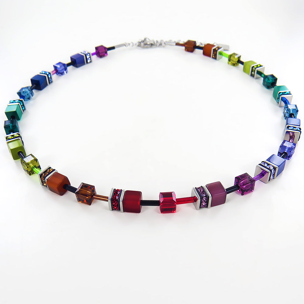 MULTICOLORED CAT EYE DESIGN NECKLACE