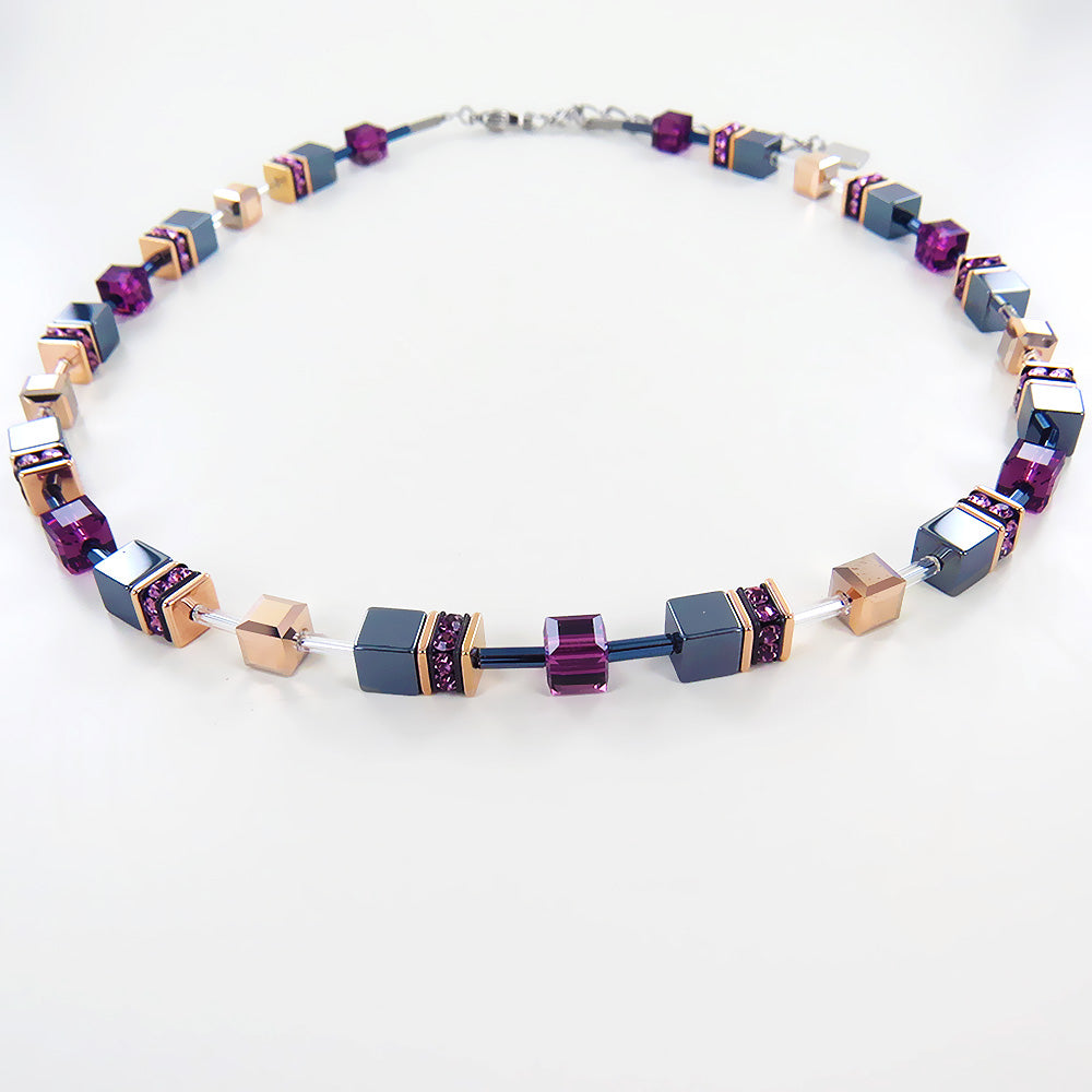 HEMATITE AND PURPLE SWAROVSKI CUBE NECKLACE