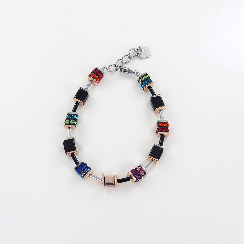 GLASS CUBE AND MULTICOLORED SWAROVSKI RONDELLE BRACELET