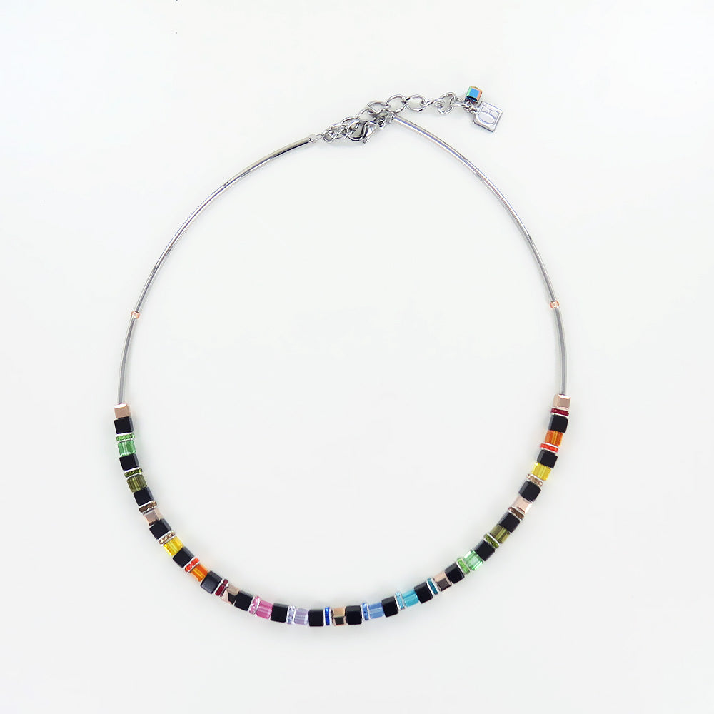 MULTICOLORED GLASS CUBE AND SWAROVSKI RONDELLE NECKLACE