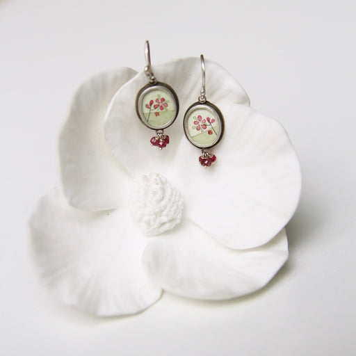 Small Oval Plum Blossom Painting Earring