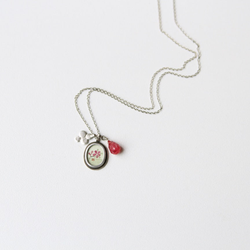 Oval Plum Blossom Painting Necklace