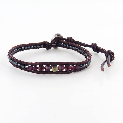 GARNET MIX SINGLE WRAP BRACELET