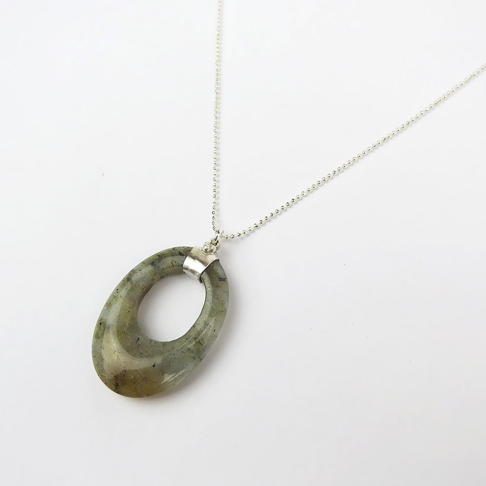 LABRADORITE EYE PENDANT NECKLACE