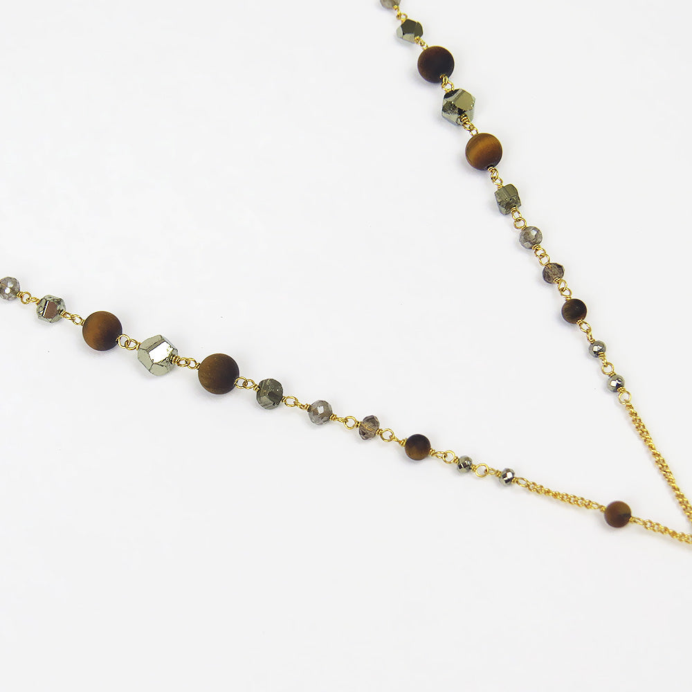"TIGERS EYE MIX SPLIT ""Y"" NECKLACE"