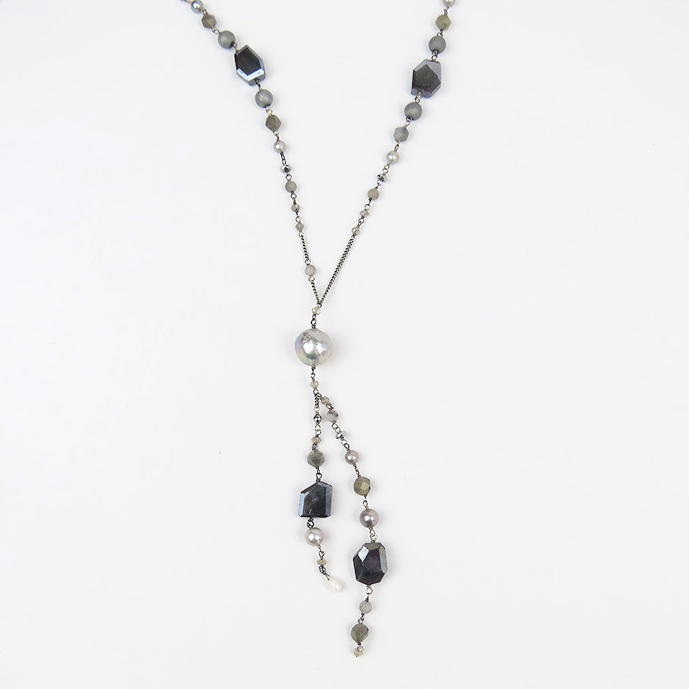 "LABRADORITE MIX SPLIT ""Y"" NECKLACE"