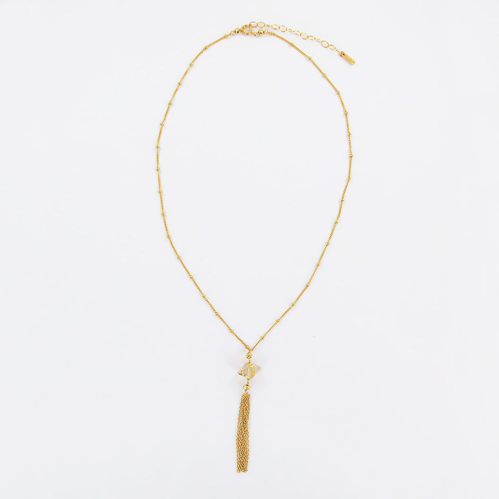GOLDEN SHADOW CRYSTAL TASSEL NECKALCE