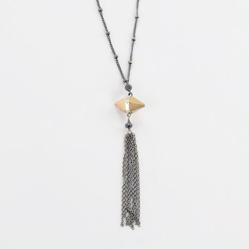 ROSE GOLD CRYSTAL AND TASSEL NECKLACE