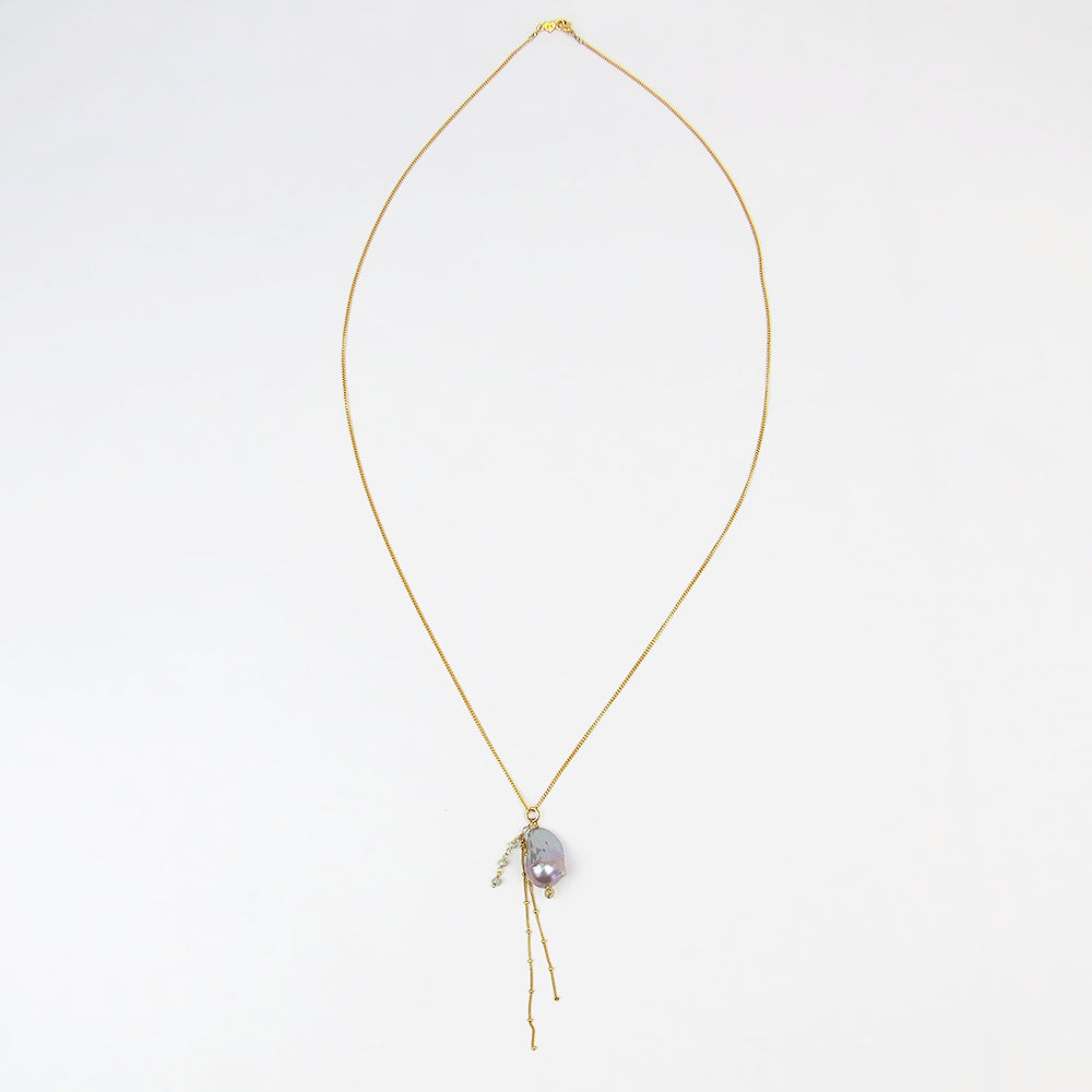 FRESH WATER PEARL WITH SHINY GOLD TASSELS NECKLACE