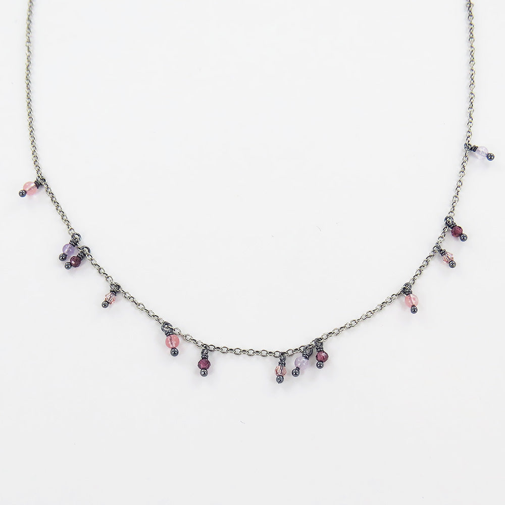 GARNET MIX SHORT LAYERING NECKLACE