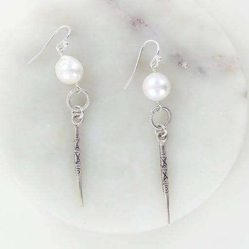 WHITE PEARL AND SILVER DAGGER EARRING