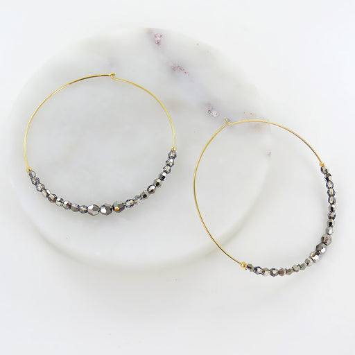 METALLIC LIGHT GOLD HOOP EARRING
