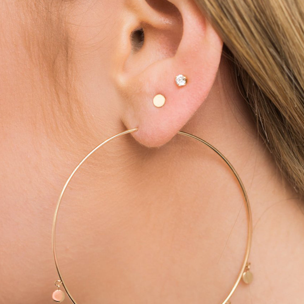14K GOLD SINGLE ITTY BITTY ROUND DISC STUD EARRING