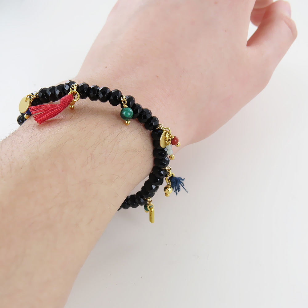 MULTI MIX & TASSEL STRETCH BRACELET