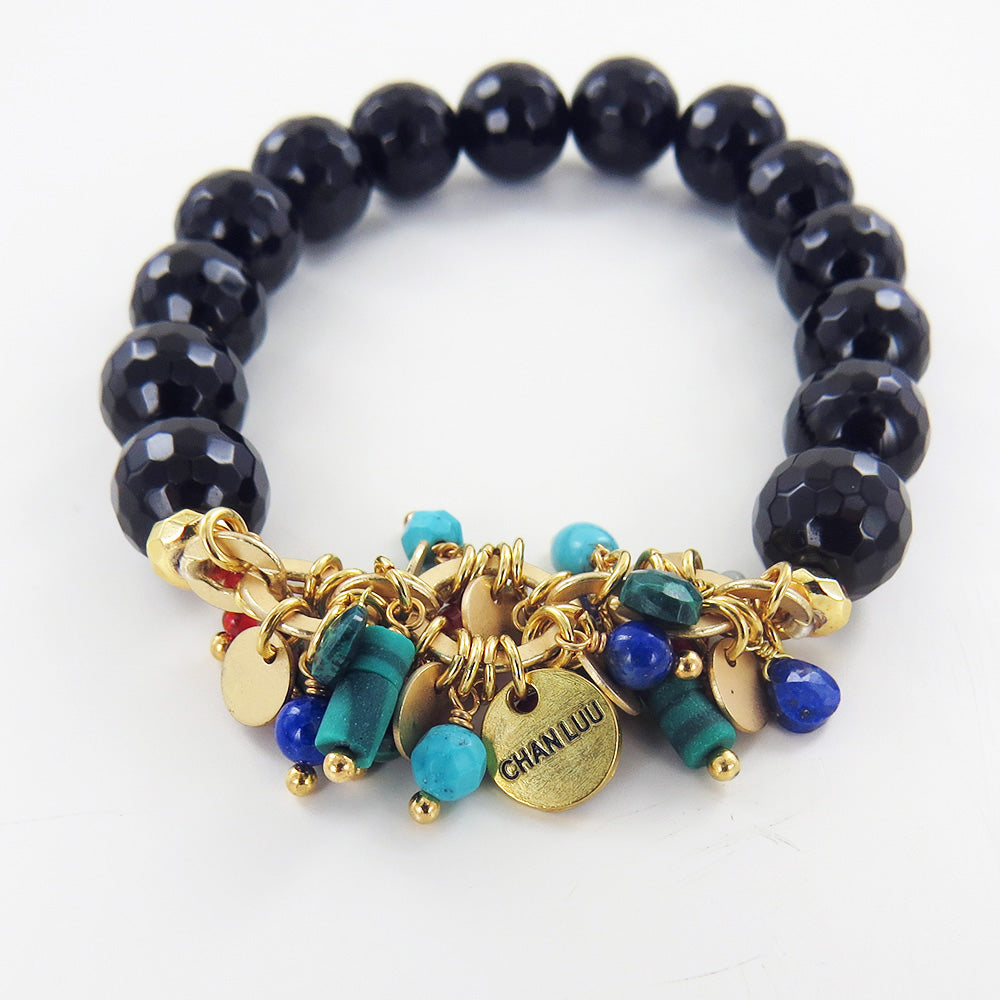 BLACK BEADED MULTI MIX STRETCH BRACELET