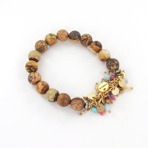 NATURAL AND PINK MIX STRETCH BRACELET