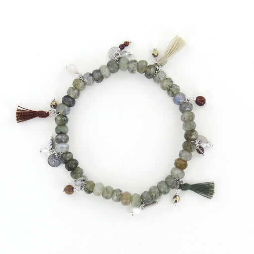 LABRADORITE MIX & TASSELS STRETCH BRACELET