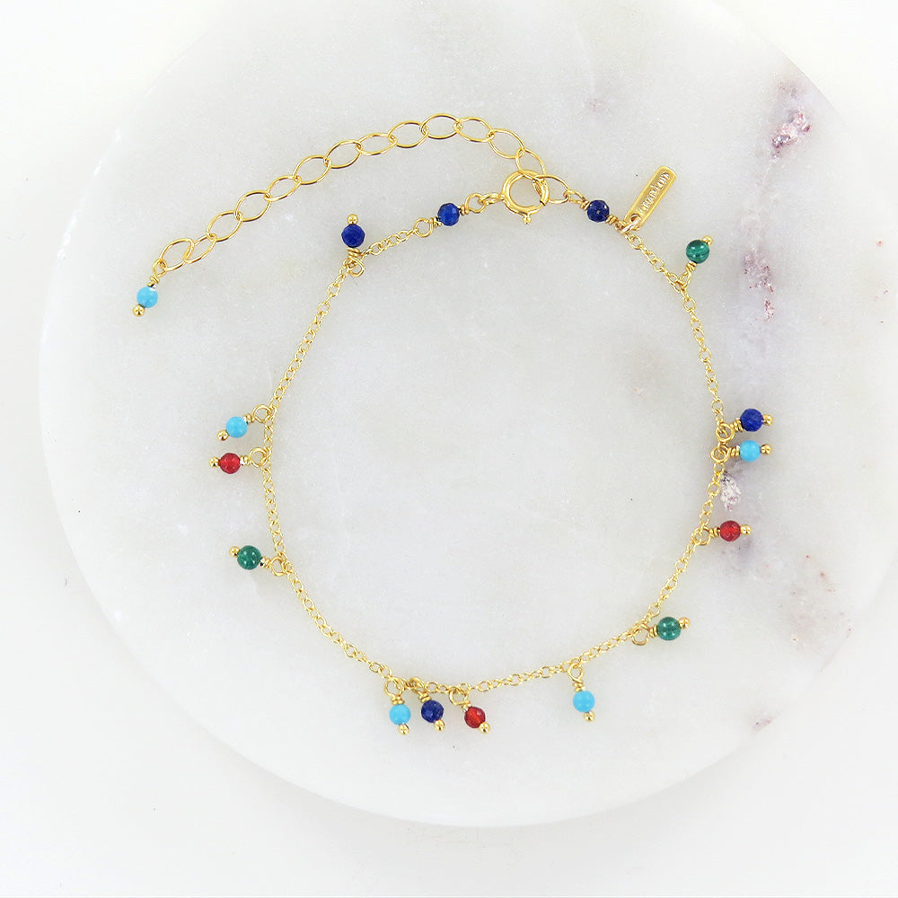 RAINBOW MIX BEADED CHAIN BRACELET