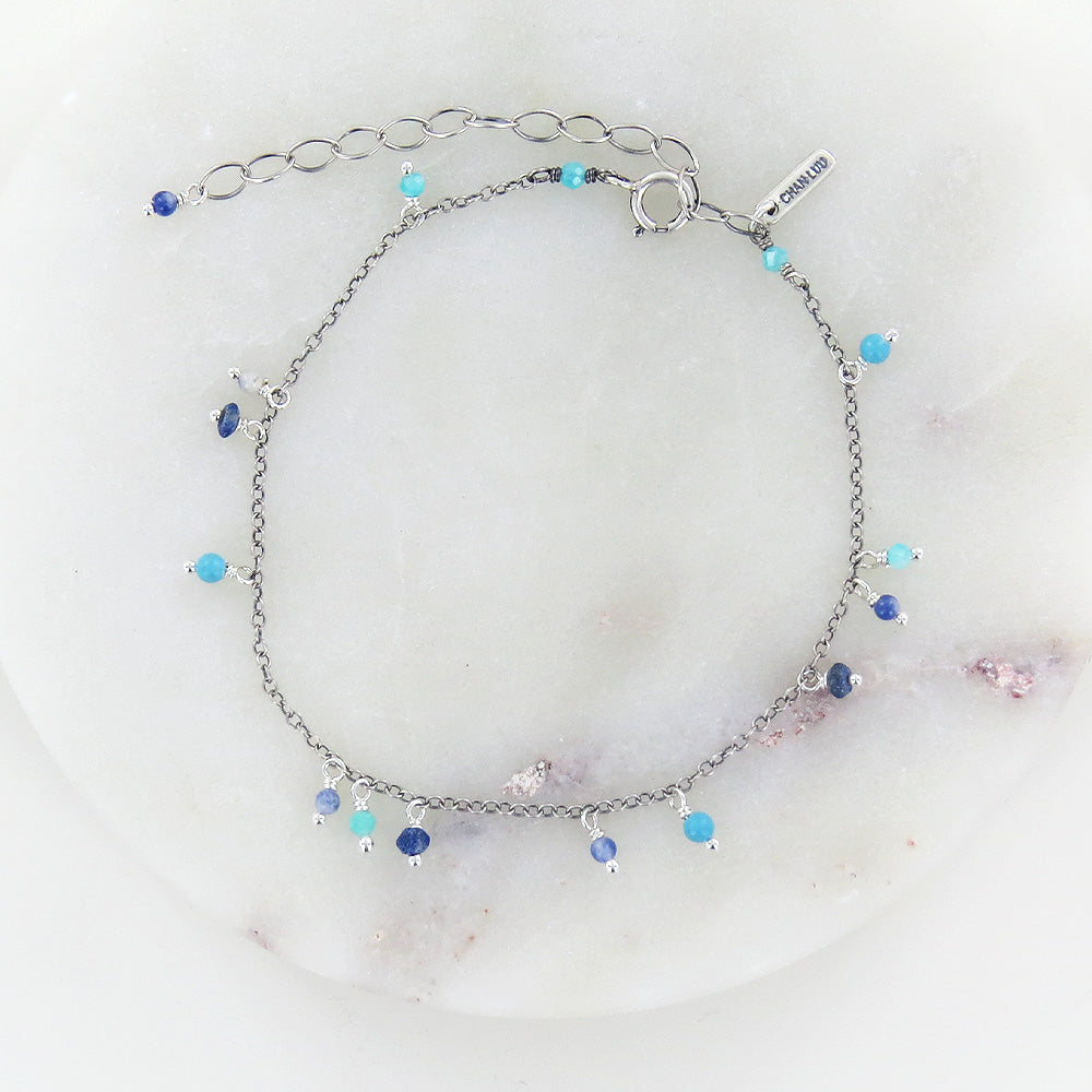 TURQUOISE MIX BEADED CHAIN BRACELET