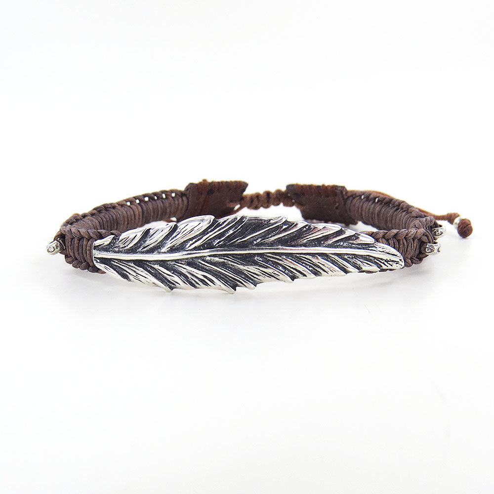 NATURAL GREY LEATHER FEATHER PULL TIE BRACELET